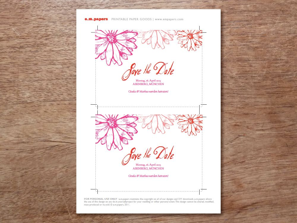 empapers instant download save the date templates