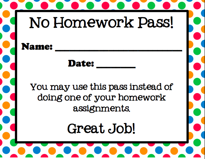 no homework pass using this one today for everybody turning in rh pinterest com au No Homework Clip Art iPad Clip Art