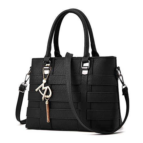 Vincico Women Black PU Leather Top Handle Bags Satchel Handbags *** You can get more details at