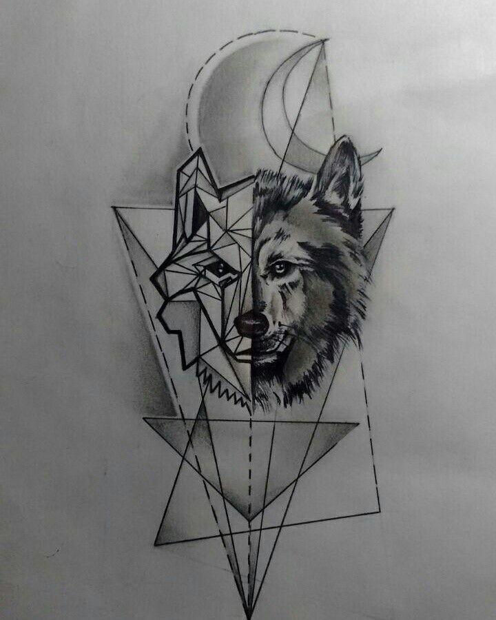 24 Tatuaje de lobo geometrico