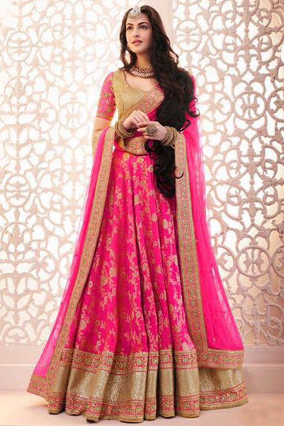 5dd6e91346 Pink Heavy Designer Party Wear Embroidered Lehenga Choli | #Fashion ...