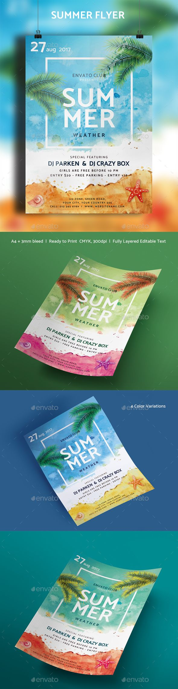 Summer Flyer  Photoshop Psd Template Tropical  Download