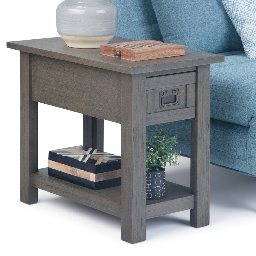 Monroe Solid Acacia Wood 14 Inch Wide Rectangle Rustic Contemporary Narrow Side Table In Farmhouse Grey Simpli Home In 2021 Narrow Side Table Simpli Home Side Table