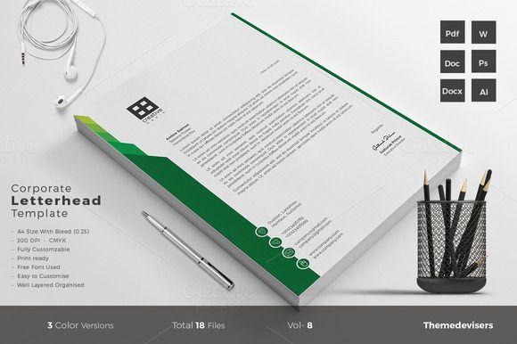Beautiful Corporate Letterhead Template Word @creativework247