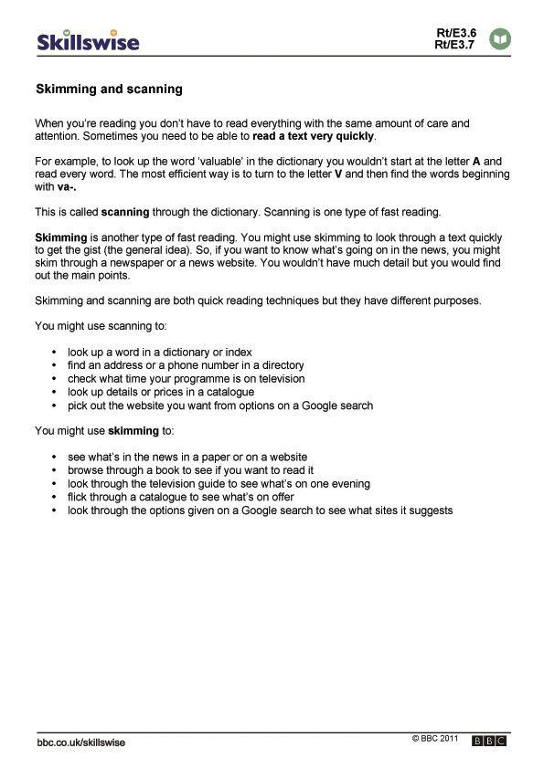 skimming and scanning practice worksheets pdf