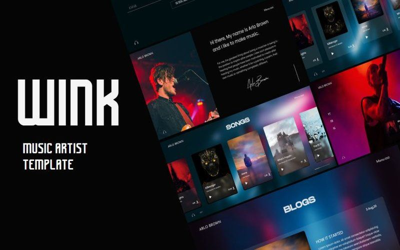 Free Music Artist And Singer By Wink Website Template Music Artists Online Music Player Website Template