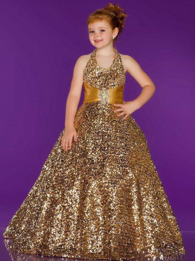 splendid gold sequins Halter flower girl dress,princess prom dress ...