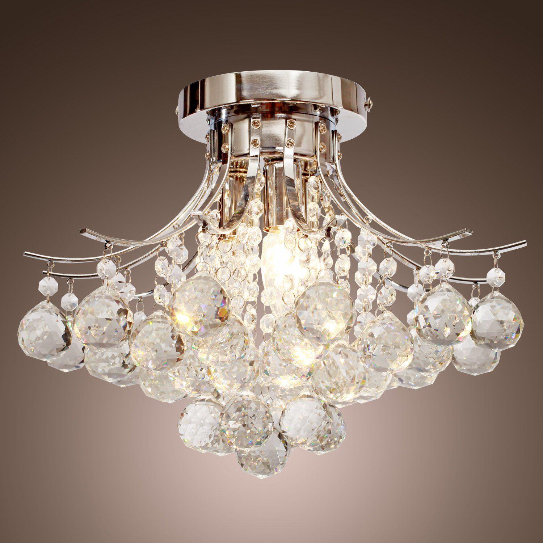 Lightinthebox chrome finish crystal chandelier with 3 lights mini lightinthebox chrome finish crystal chandelier with 3 lights mini style flush mount ceiling light aloadofball Gallery