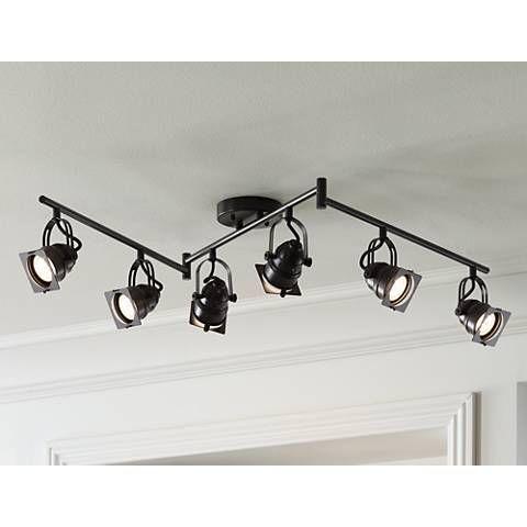 adjustable lighting fixtures. Finished In Bronze, This LED Track Fixture Features Six Adjustable Lights. Hamilton 6-Light Swing Arm Bronze - #3T193 | Lamps Plus Lighting Fixtures E