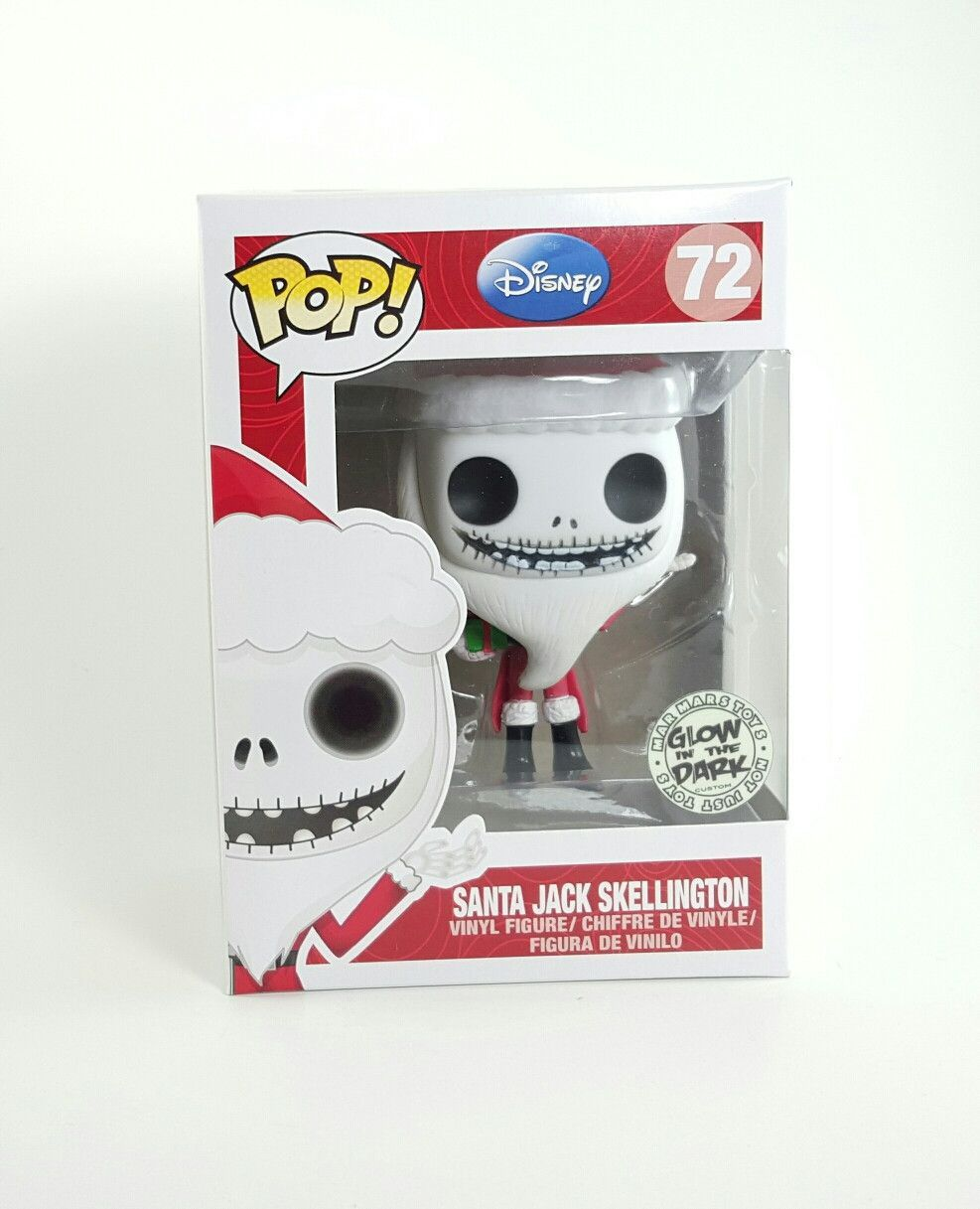 f3c4d3a42d SANTA JACK SKELLINGTON DISNEY TIM BURTON S THE NIGHTMARE BEFORE CHRISTMAS  FUNKO POP 72 GLOW IN THE DARK
