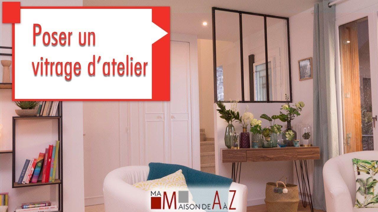 Poser Un Vitrage D Atelier Gedimat Ma Maison De A A Z Diy Verriereatelier Cloisons Industriel Salon Deco Maison Cloison Amenagement Interieur