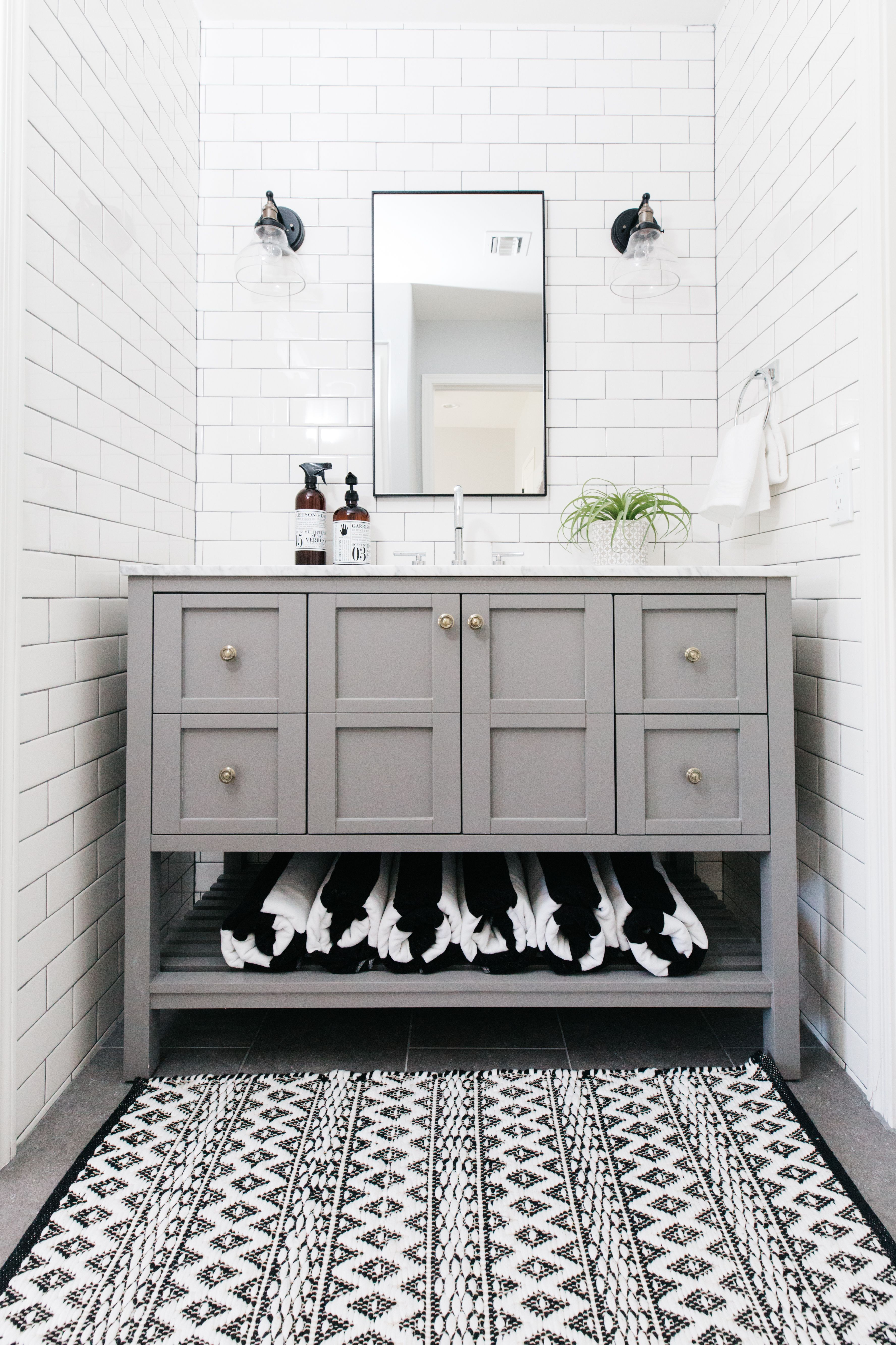 Our Guest Bathroom Remodel Subway Tile With Gray Grout