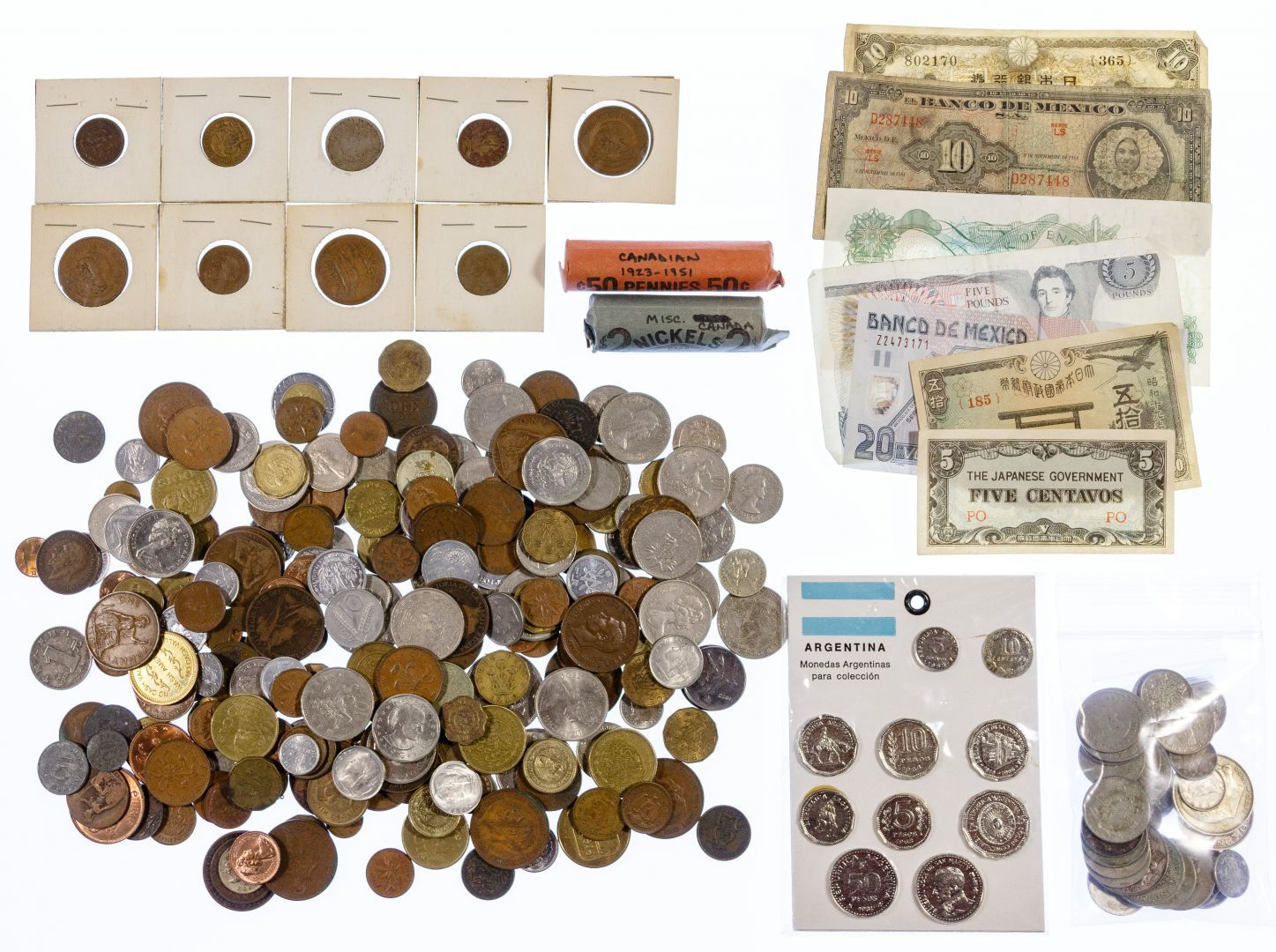 Lot 15: World: Coins and Currency Assortment