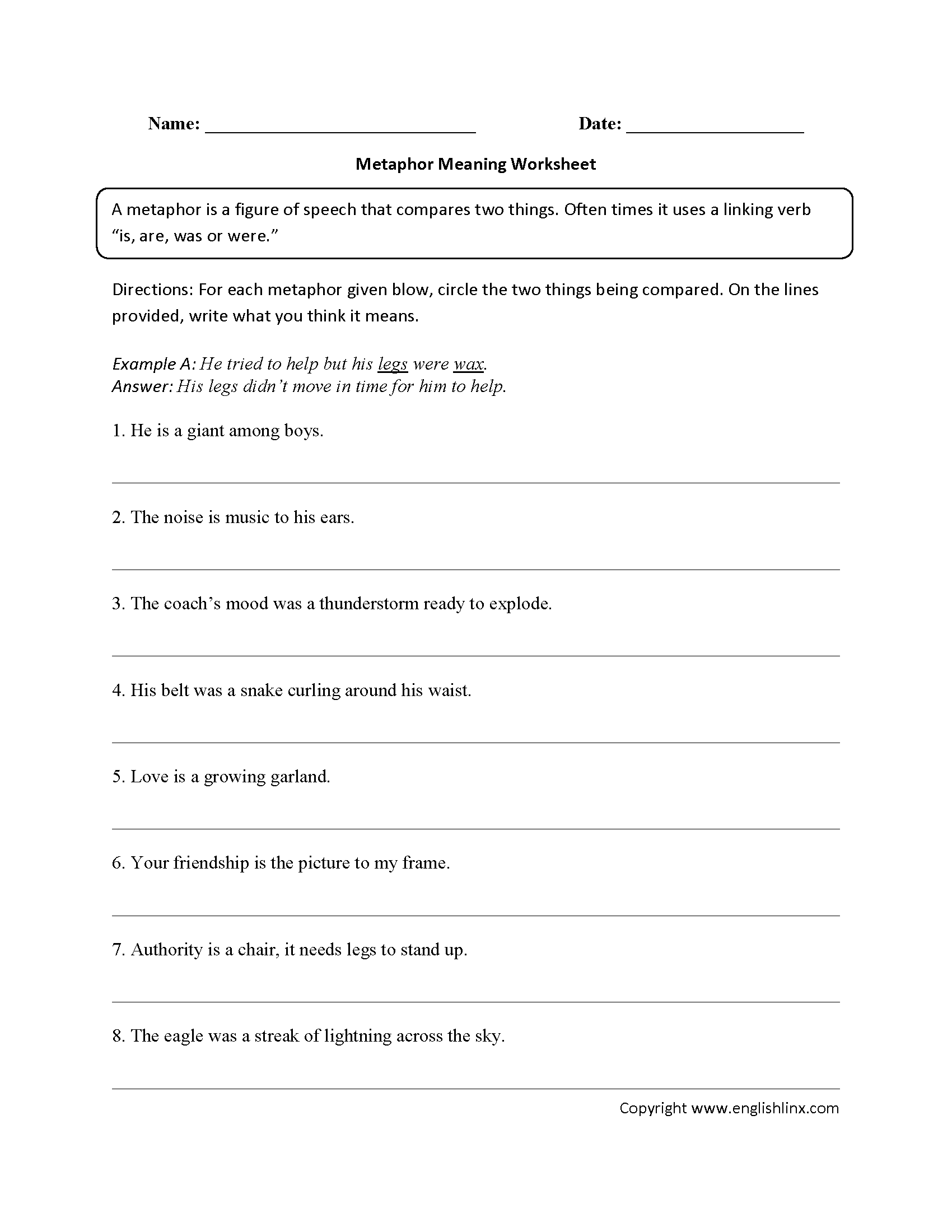 Metaphor Meaning Worksheet