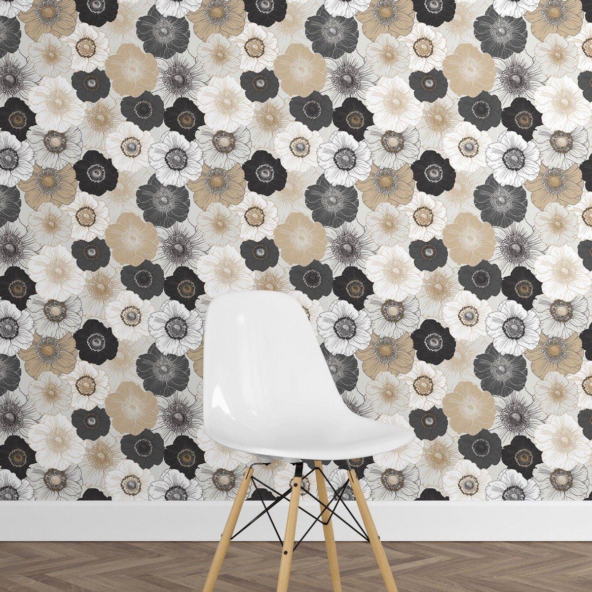 Anemones Peel And Stick Wallpaper Removable Wallpaper Brick Wallpaper Living Room