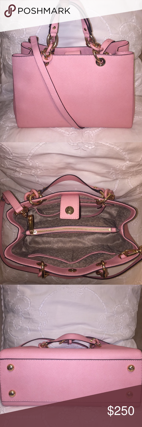 Michael Kors Pale Pink Cynthia Saffiano Leather Pinterest Selma Large Satchel Coklat Medium Size New With Tags And Dust Bag Bags Satchels