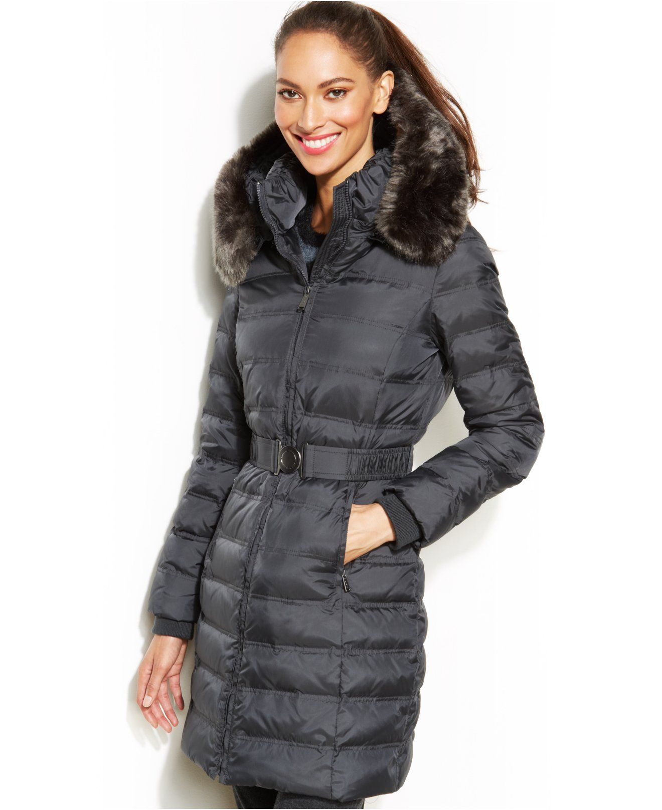 Dkny Hooded Faux Fur Trim Belted Down Puffer Coat Coats Women Macy S Down Puffer Coat Stylish Winter Coats Coats For Women [ 1616 x 1320 Pixel ]