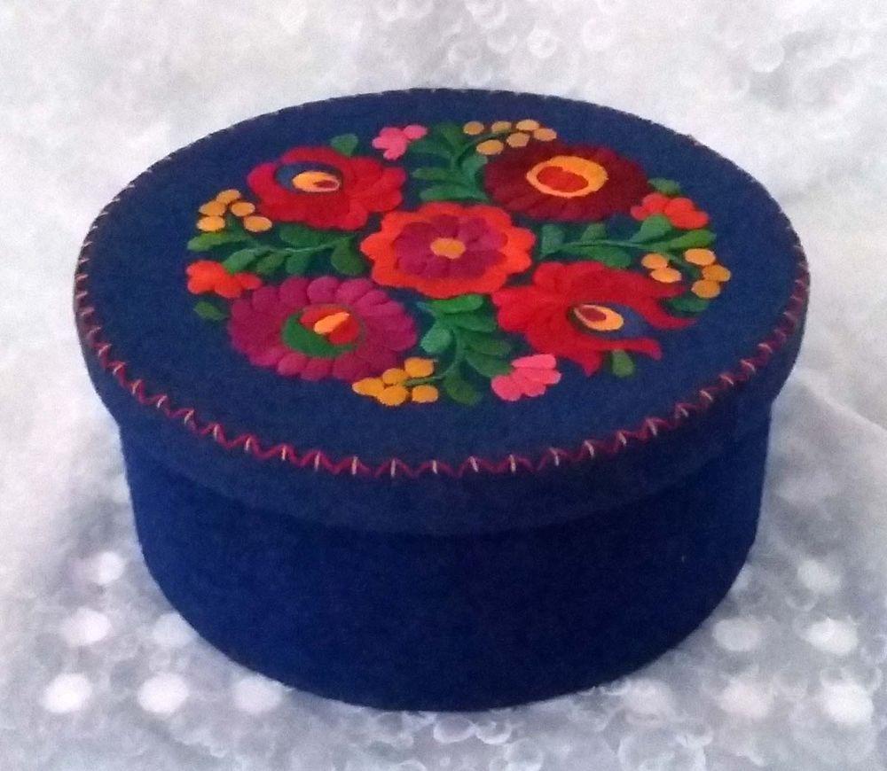 Vintage~Embroidered floral felt storage box blue red pink green-Hand made
