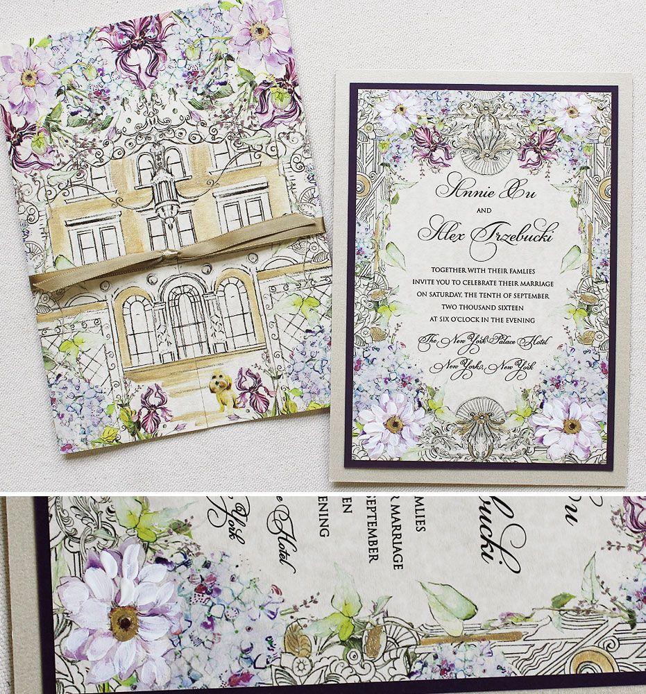 Architecture inspired wedding invitation.  #weddinginvites #watercolor #architecture #handpainted #kristyrice #momentaldesigns