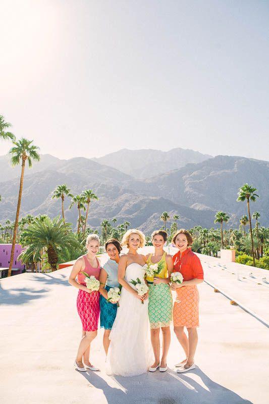 rainbow inspired bridesmaid dresses http://www.weddingchicks.com/2014/02/05/the-saguaro/