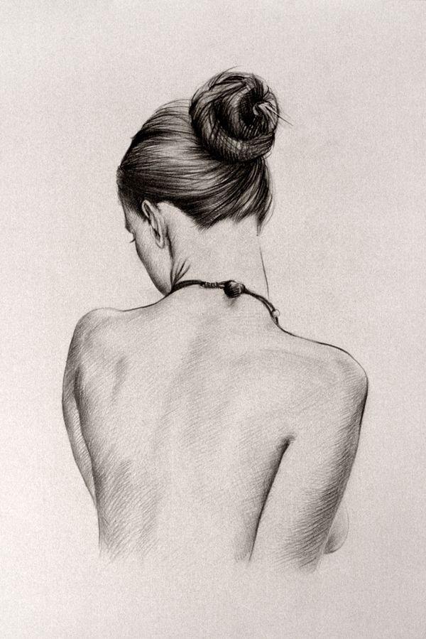 Рисунок. Карандаш. Девушка с пучком/ Drawing. Penc