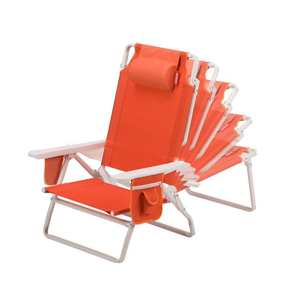 Beach lounge chair portable - This Coleman Beach Chair Recliner Has It All It Can Be Used At The Beach Or As A Portable Camping Chair It Has 5 Back Rest Positions A Storage Pocket