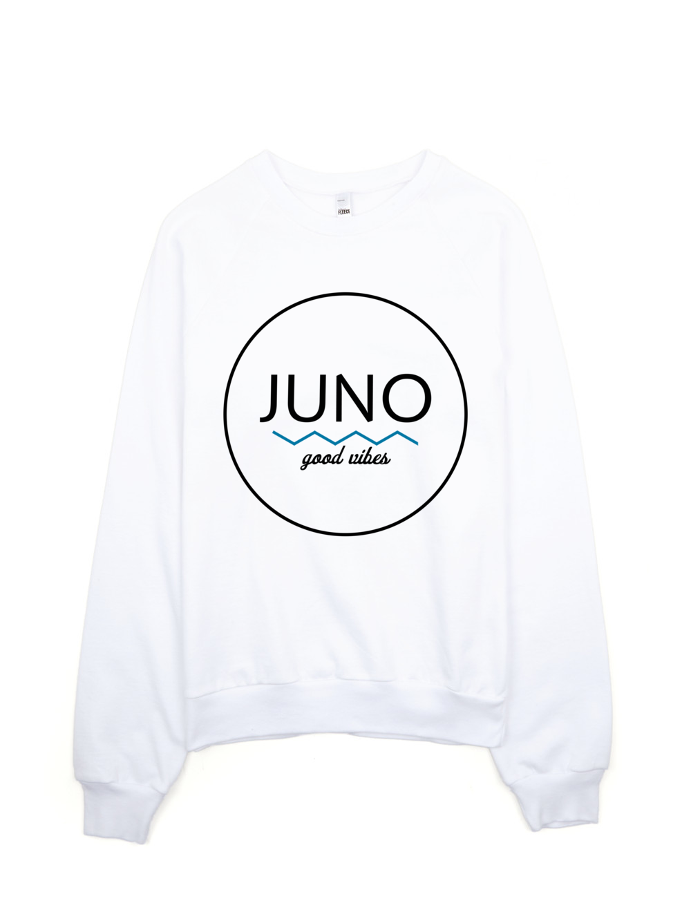 the simple waves crewneck features a wave design with juno in a black font as well as the saying good vibes on the bottom 100 california fleece cotton
