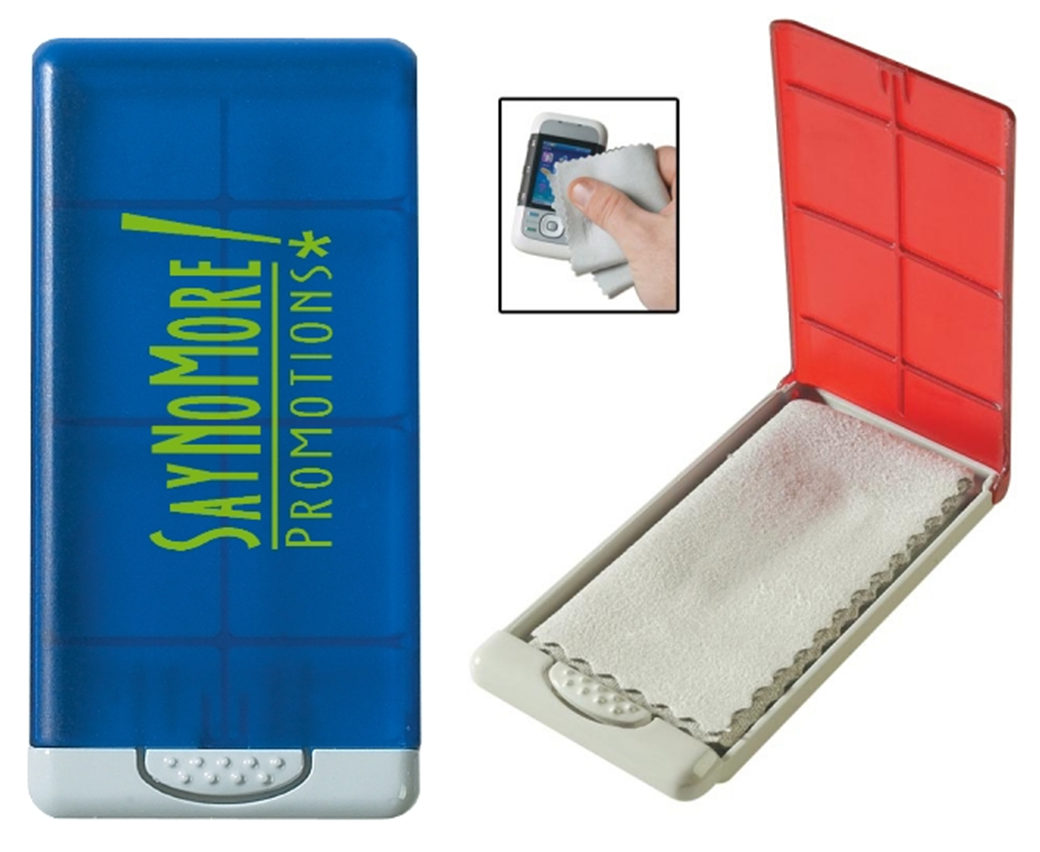 Screen Cleaner in customized Case cleans cell phones, tablets, and computer screens! SayNoMorePromotions.com
