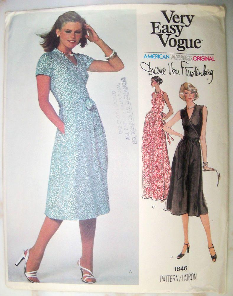 Vogue 1846 Diane Von Furstenberg Knit Wrap Dress Dvf Iconic Knit Wrap Dress Sz20 5 B43 Uncut Ff 65 F Vogue Dress Patterns Vintage Vogue Patterns Vogue Patterns [ 1000 x 789 Pixel ]
