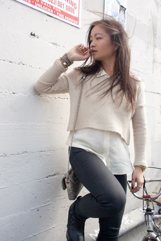 sweaters + collared blouses