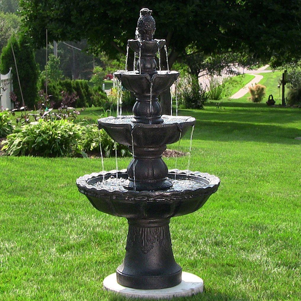 Outdoor fiberglass 4 tier waterfall water fountain for garden decor ...