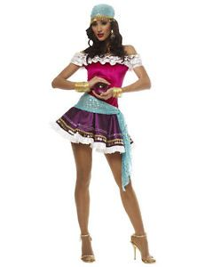 5870fc2c304 Ladies Fortune Teller Costume Sexy Tarot Reader Gypsy Fancy Dress Outfit  Large