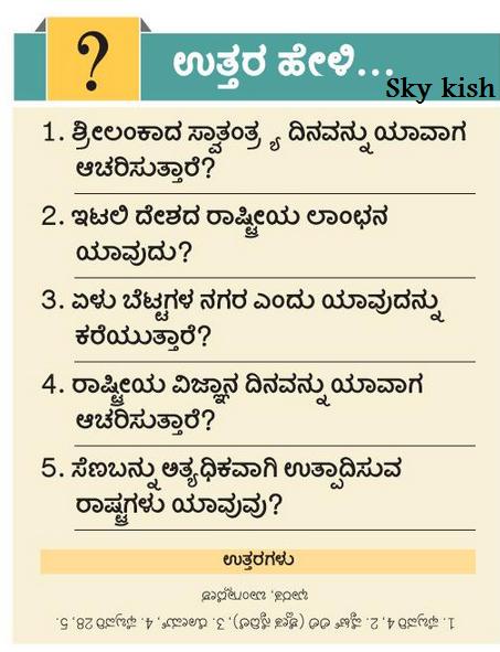 Skykishrain Kannada Important General Knowledge