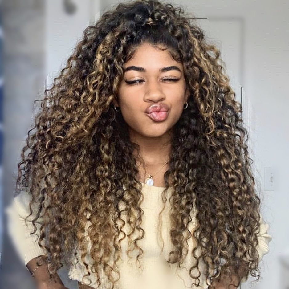 Nicolle Lemonds On Instagram Gave Heatherbanie Her First Highlights Having Long Healthy Blonde Highlights Curly Hair Long Curls Balayage Hair Blonde Medium