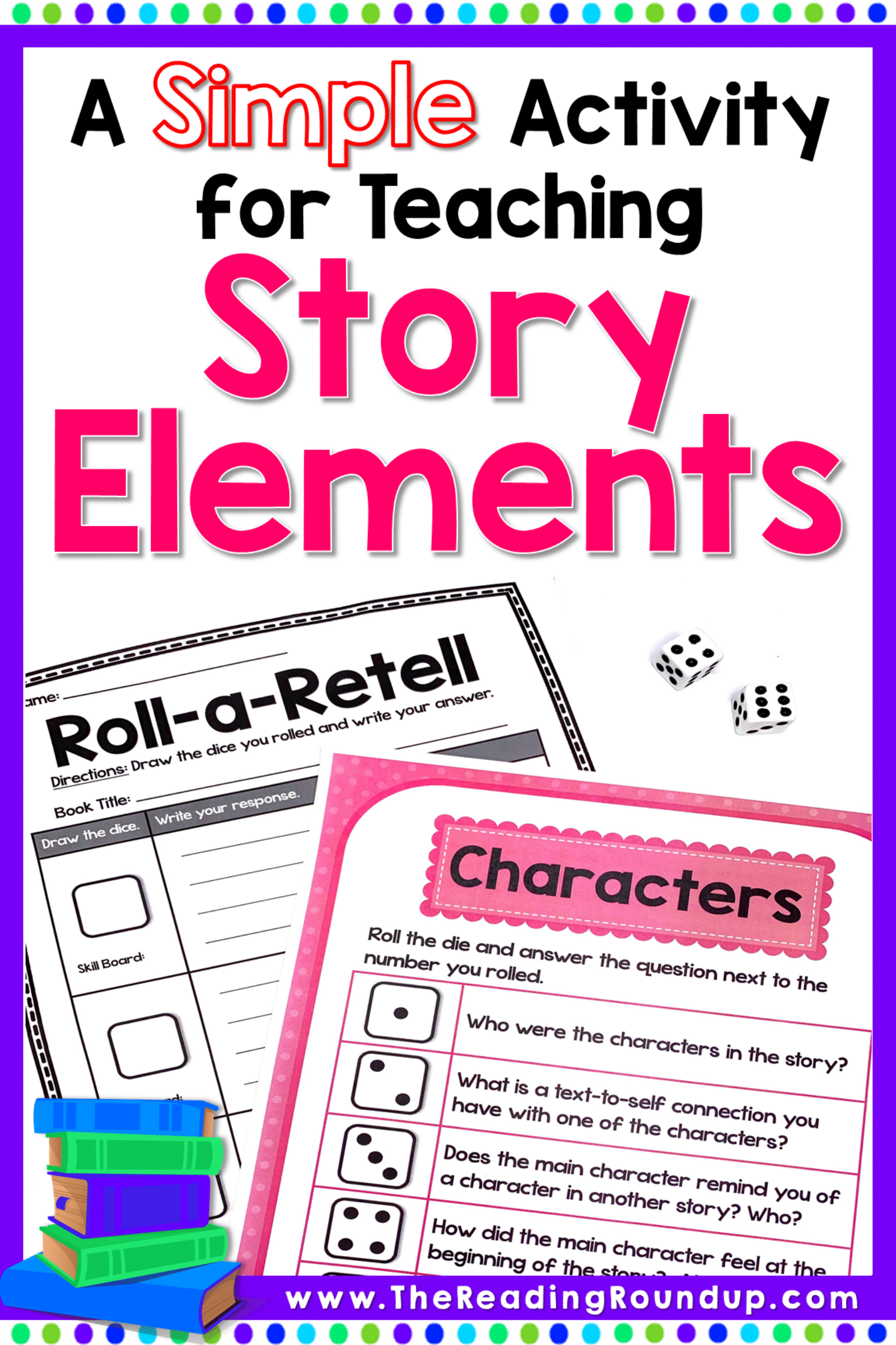 Simple Activity Using Dice To Teach Story Elements Teaching Story Elements Reading Comprehension Games Story Elements [ 2400 x 1600 Pixel ]