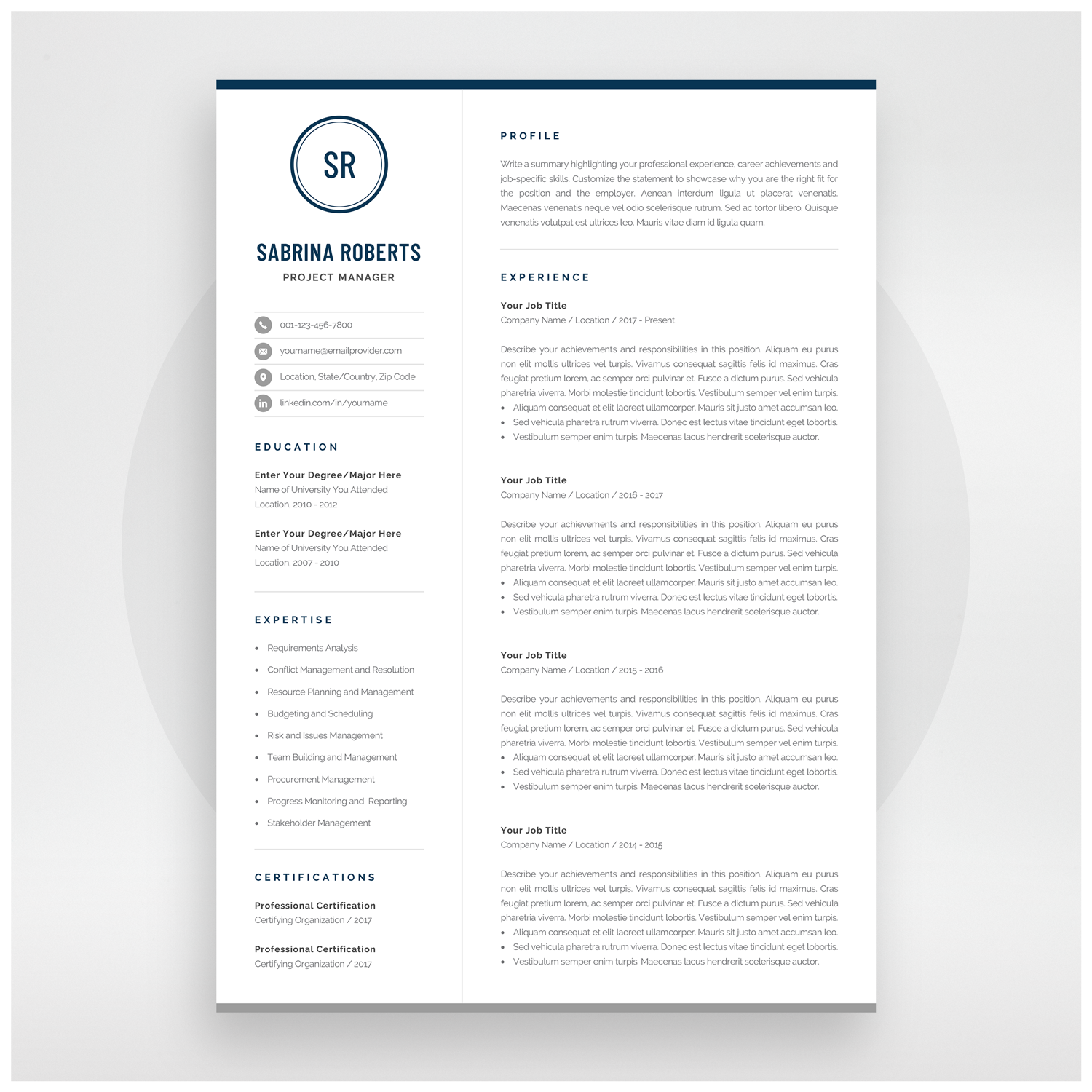 Professional 1 Page Resume Template Modern One Page Cv Etsy Resume Template Professional Resume Template Resume Template Word