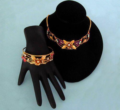 Vintage Pegasus Coro Rhinestone Rose Bib Necklace Bracelet EX Cond   eBay