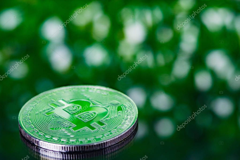 Bitcoin Digital Currency Bit Coin Green Blurred Bokeh Background Cryptocurrency Spon Bit Coin Currency Bitco Digital Currency Money Concepts Bitcoin