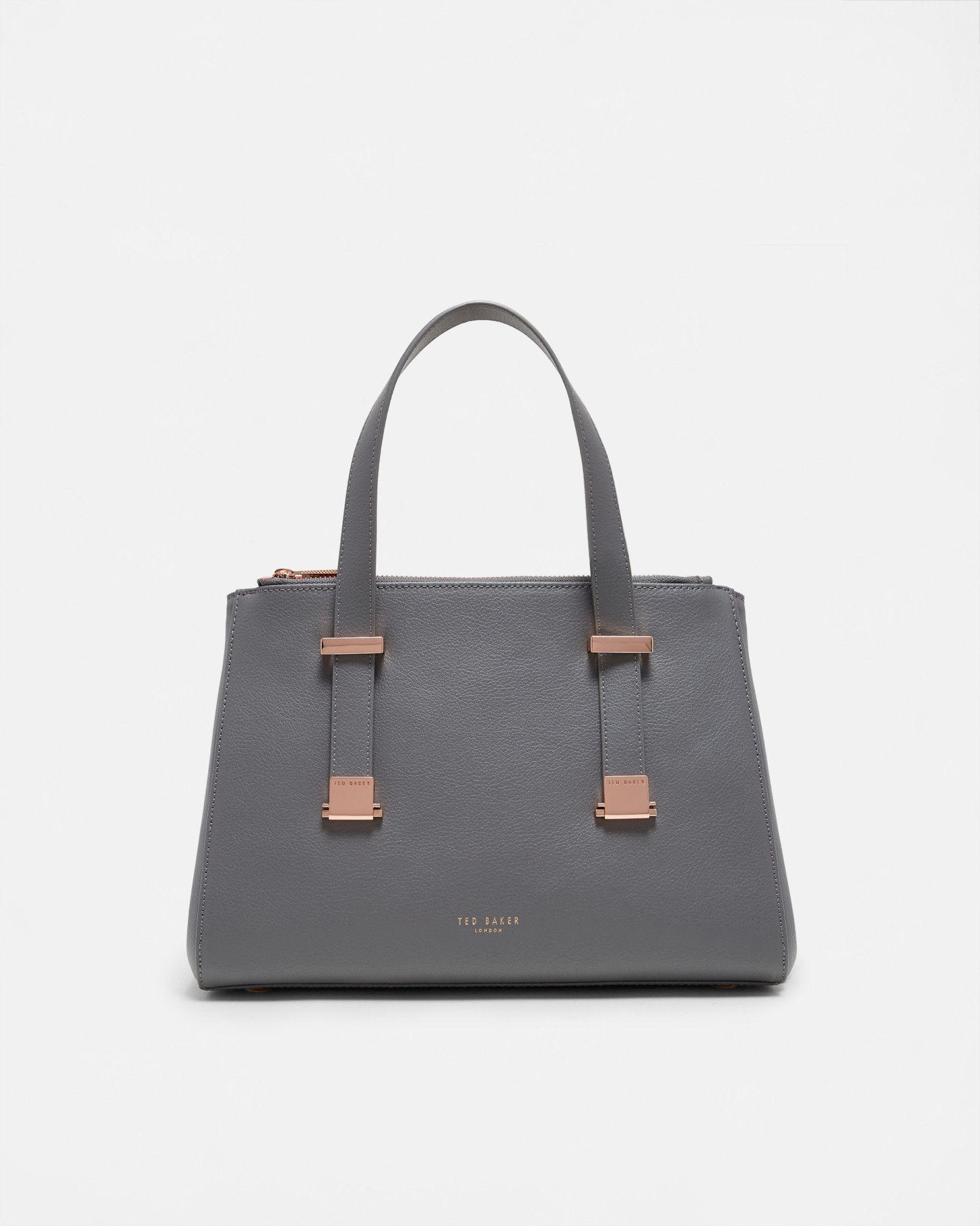 7dae0c81b Small leather pebble grain tote bag - Mid Gray