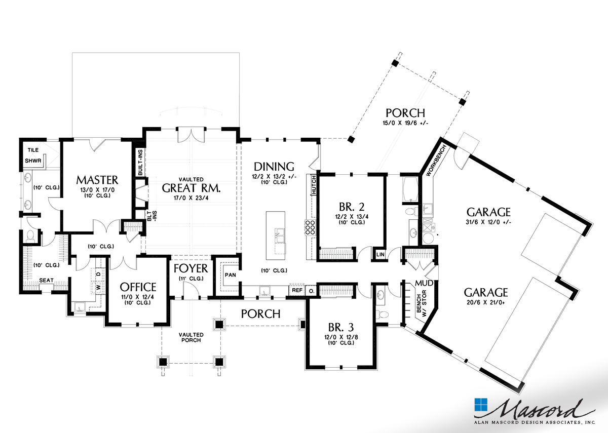 Main Floor Plan Of Mascord Plan 1250b The Arapahoe Popular Amenities Such As Vaulted Spaces Grea Craftsman Style House Plans Floor Plans Ranch House Plans