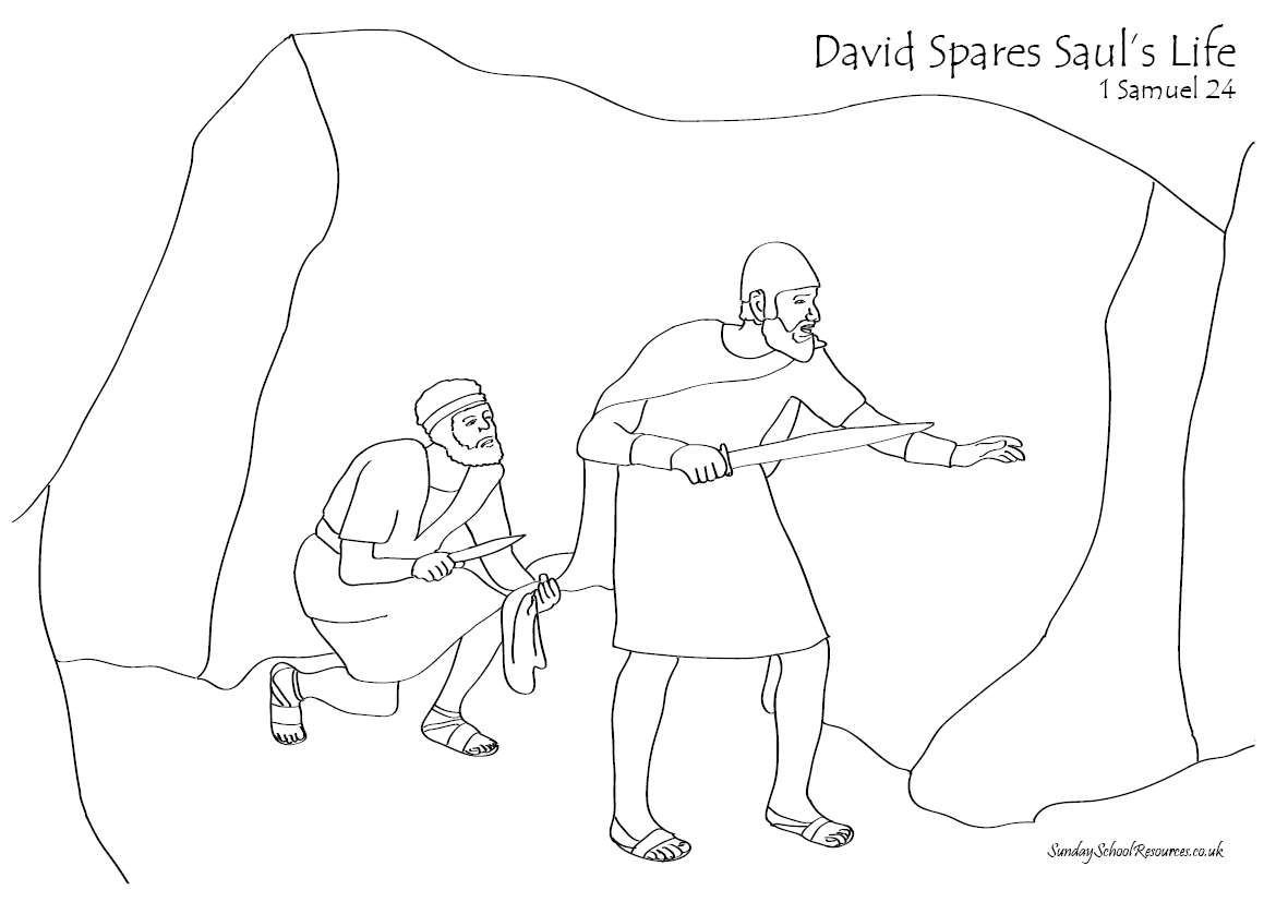 Sunday School Coloring Page : David Spares Saul — Stock