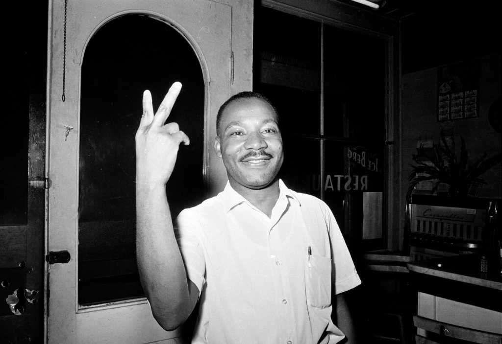 Dr. Martin Luther King, Jr. reacts in St. Augustine, Fla., after learning that the senate passed the civil rights bill, June 19, 1964.