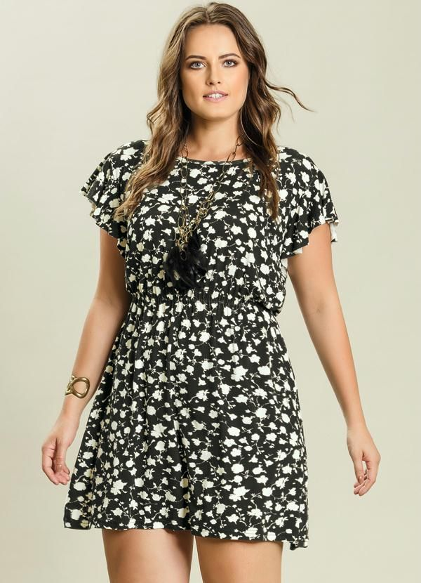 f50953604 Vestido Evasê Florido Plus Size - Quintess | Moda para mi ...