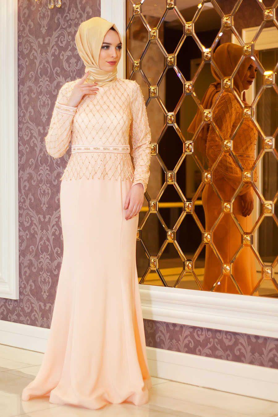 Evening dress bead detail fish cut salmon pink hijab dress smn