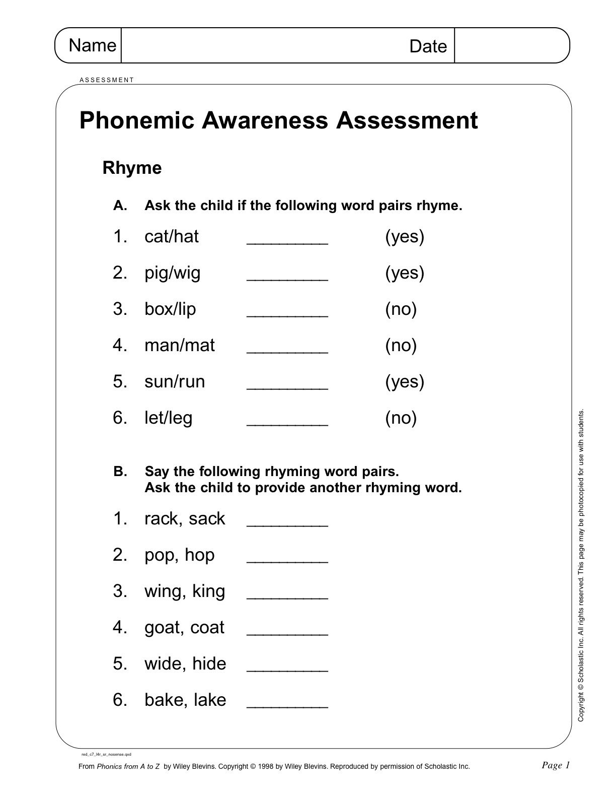 Phonemic Awareness Assessment Page 1 From Scholastic