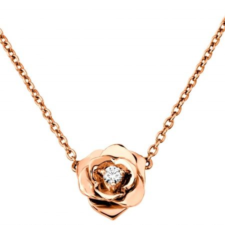 18K Rose Gold Diamond Piaget Rose Necklace Timeless and chic http
