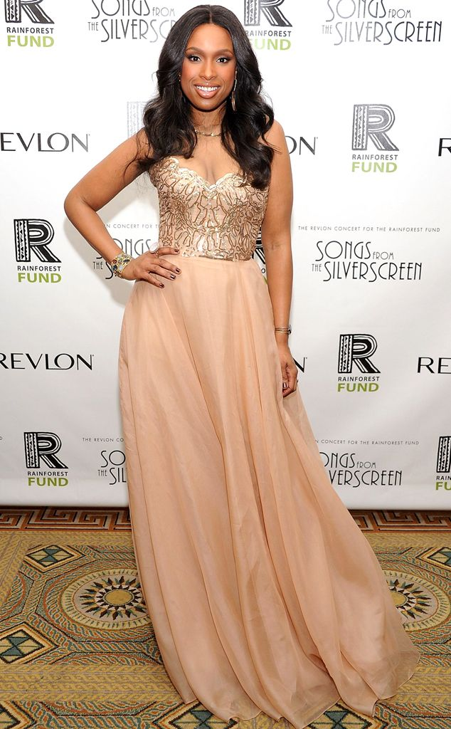 Jennifer Hudson in tunning strapless blush gown and Kimberly McDonald statement jewelry.