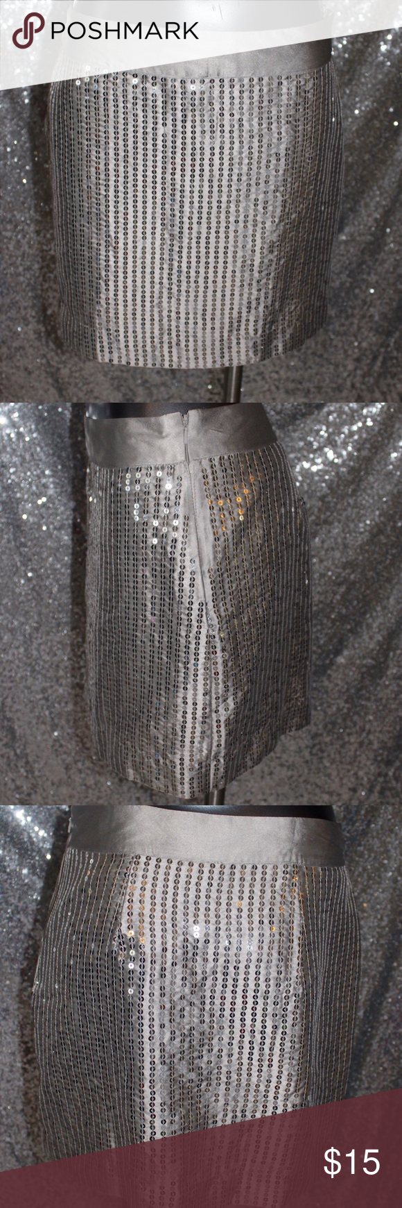 "Gap Outlet Silver Sequined Skirt Size 2 Pencil silhouette Gray Solid Embellished details Measurements 15"" Length Materials 100% Polyester GAP Skirts Mini"