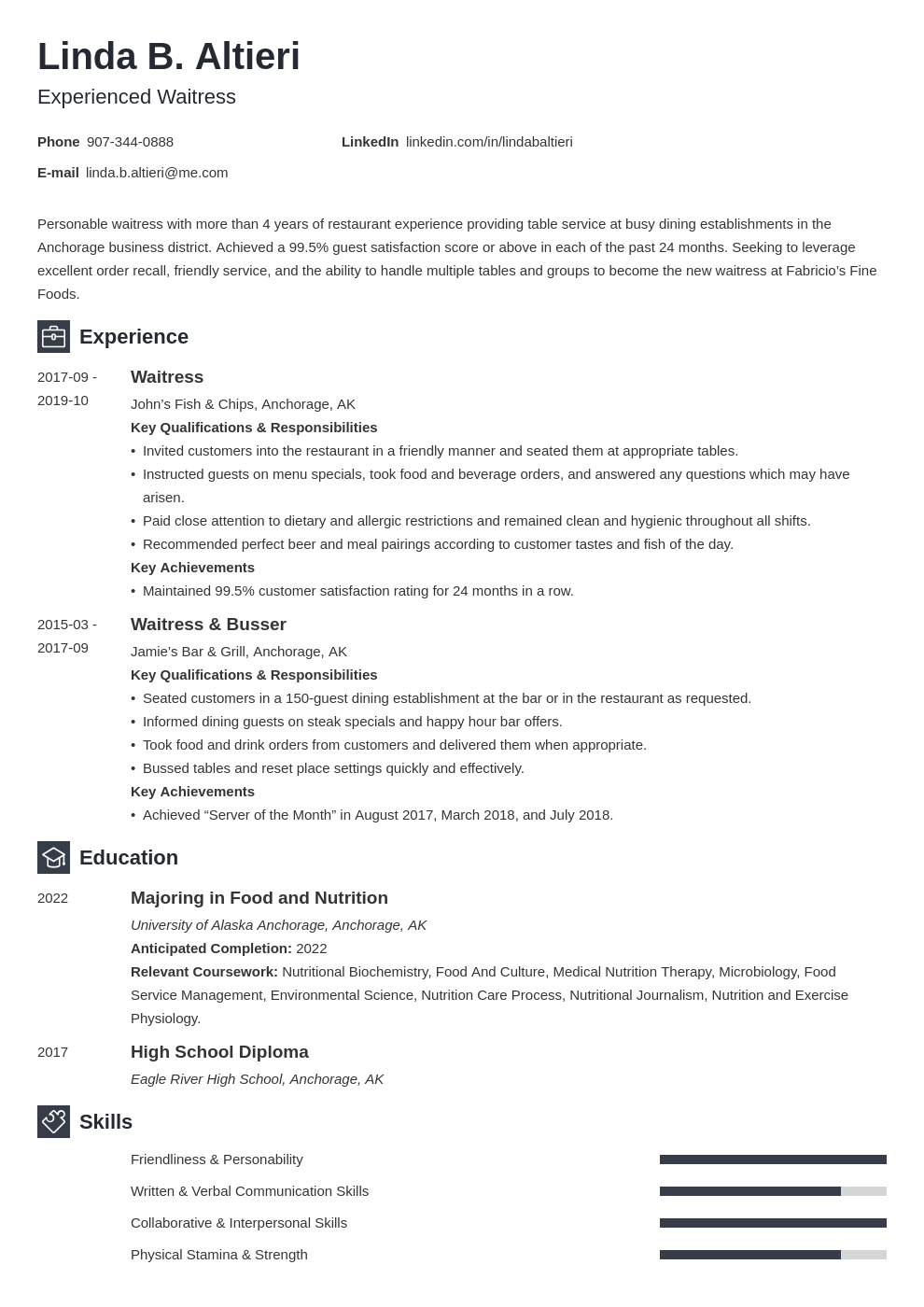 waiter waitress resume example template newcast in 2020