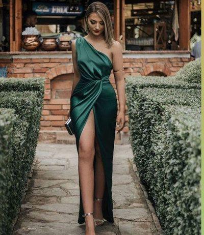 One Shoulder Slit Side Dark Green Prom Dresses Und